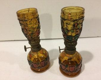 Vintage Pair of Minature Oil Lamps