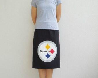 Women's Skirt Pittsburgh Steelers T-Shirt Skirt Recycled TShirt Skirt Straight Knee Length Skirt Cotton Skirt Fall Autumn ohzie