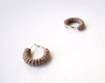 Beaver Brown Earrings, Mini Crochet Tube Hoops, 1 inch hoop earrings
