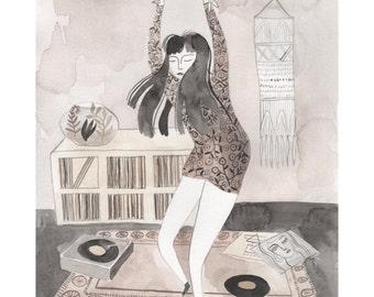 Dancing Girl Giclee Art Print 8 x 10, Wall Art, Dance Art, Dance Watercolor