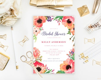 "Tropical Bridal Shower Invitation - Water Color Flowers Printable JPEG Wedding Shower Invitation - 5""x7"" Modern Trendy Shower Invitation"