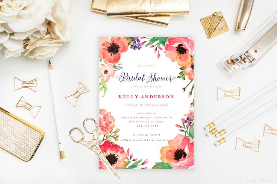 Tropical Bridal Shower: Tropical Bridal Shower Invitation Water Color Flowers