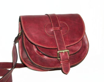 Distressed  Leather Saddle Bag Messenger Cross-body Purse Goldmann Size S