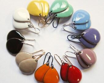 Colorful enamel teardrop dangle earrings Enamel jewelry Choose color and ear wires Nickel free niobium Silver Gold-filled ear wires