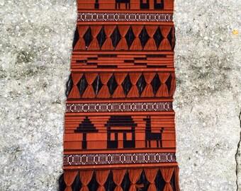 Vintage Geometric Alpaca Handwoven Wool Textile Wall Art.