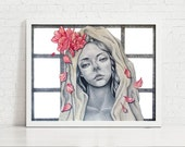 Gifts - 11x14 Original Mixed Media Drawing - Pencil & Watercolor on Paper - Realism Portrait Art