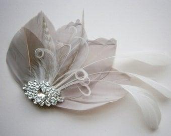 Ivory, feather, gray, grey, Weddings, hair, accessory, facinator, Bridal, Fascinators, Bride, veil - Gorgeous Gray