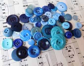 The Blues Vintage Buttons Destash Shades of Blue