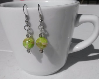 Marbled Lime Green Brown Gold Glass Bead Dangle Drop Earrings