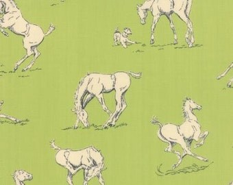 Pasture green horses from Belmont Purebred collection by Erin Michael for Moda