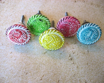 2 Cottage Tribal Style Distressed Knobs in White and Custom Color(s) B-13