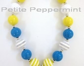 Toddler Chunky Necklace, Girls Bubblegum Necklace, Blue and Yellow necklace,Girls Bead Necklace,Children Necklace,Nautical Necklace