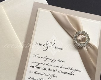 Elegant Double Rhinestone Circle, wedding Invitation, modern, champagne, ivory, elegant, silver, gold, crimson red, ivory, black, DCR-001