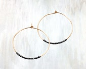 Thin Gold and Oxidized Sterling Silver Bead Hoop Earring, Duality Hoop