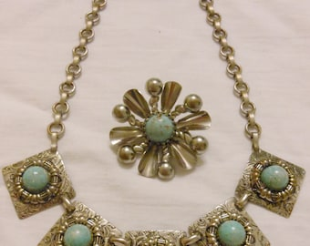 Faux silver and turquoise pin and necklace