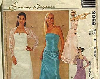 Misses' Elegant Evening Gown & Shrug, Bustier, Skirt, Wedding, Prom, Bridesmaid, McCall's 3056 Sewing Pattern UNCUT Sizes' 8-10-12