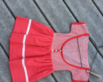 Clothes Pin Holder Red and White Striped Clothespin Bag Looks like Little Girl's Vintage Dress