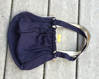 50's 60's Hand Bag Enamel Frame with Yellow Ball Clasp Blue Woven Cotton Summer Fashion Preppy