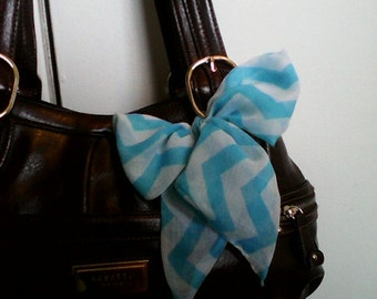 Turquoise and White Chevron Purse Scarf #TS005