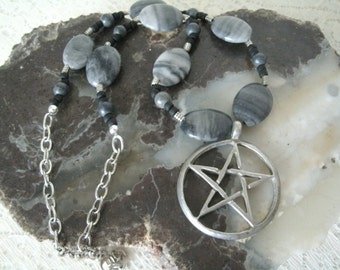 Gray Marble Pentagram Necklace, wiccan jewelry pagan jewelry wicca jewelry witchcraft witch pentacle necklace mens necklace pagan necklace