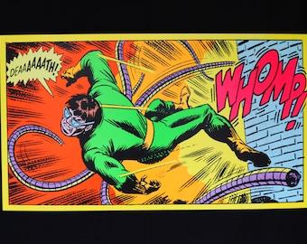 Dr. Octopus day glow fluorescent black light poster, hand printed Spider Man villain. DOC OCK
