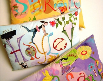SALE Whimsical Personalization Pillow Customize w/All the Things you LOVE Hand Painted Colorful Fun Birthday/Graduation Gifts 10X14 Pillow