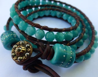 Made to Order   OAK Maui Three Wrap Leather Bracelet with Faceted Aqua Teal Agate Beads, Handmade Glass Bead & Antique Button