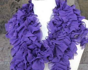 Cute  ruffled  chiffon  trim  purple    color  2 yards listing