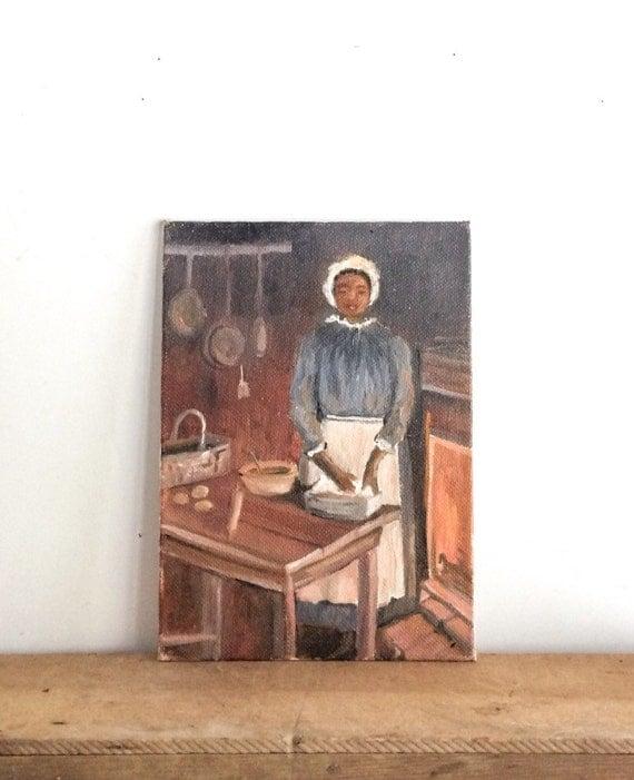 Kitchen Folk Art: Primitive Vintage African American Folk Art Painting