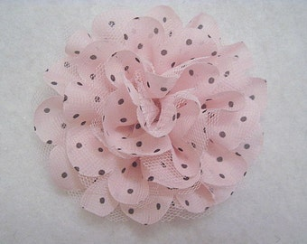 """4.25"""" Large Chiffon And Tulle Polka Dot Flower Pale Pink"""