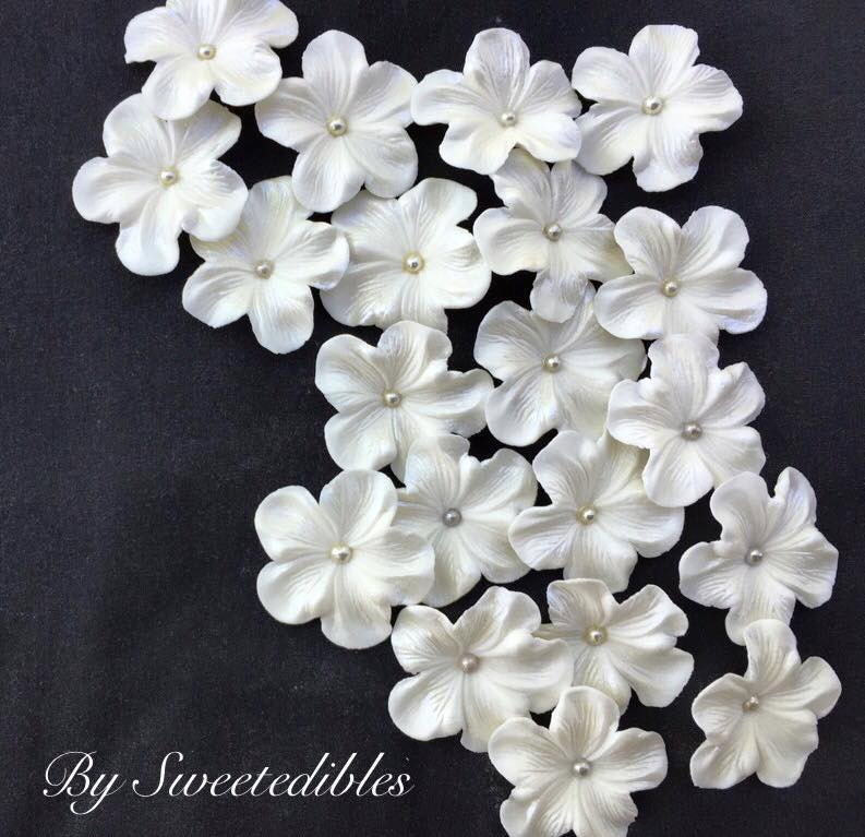 white gum paste flowers edible cake decorations 25 piece silver - Cake Decorations