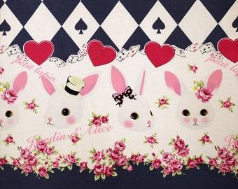 "Rabbit, , Sweets  Carld Alice in wodnderland Lolita Japanese Kawaii Navy 100cm length by 110cm Wideth or 39"" by 42"""
