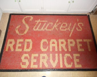 Vintage Stuckey's Red Carpet Service Gas Station Convienience Store Welcome Mat Service Station Mat Rubber Floor Mat