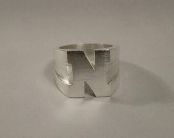N Initial Ring Sterling silver (solid)