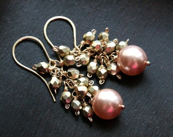 Peach pearl gold cluster earrings, 14k gold filled, dangle, Czech glass, Swarovski pearl, wire wrapped, beaded, drop, Mimi Michele Jewelry
