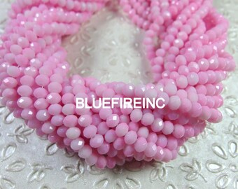 90 pcs 4x6mm rondelle Pink color crystal glass beads