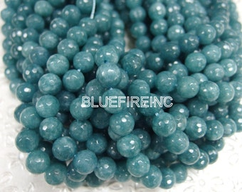 38 pcs 10mm faceted round CadetBlue colored jade beads