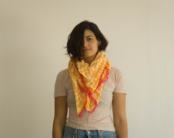 Summer scarf, orange and white flowers on african 100% cotton fabric, neon pink pom-poms