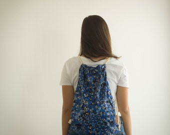 Large drawstring bag, beautiful blue, black and white print fabric, Cotton ropes