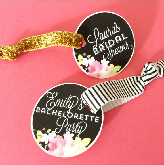 Floral and Chalkboard Themed Round Bachelorette and Bridal Party Favor Hair Ties