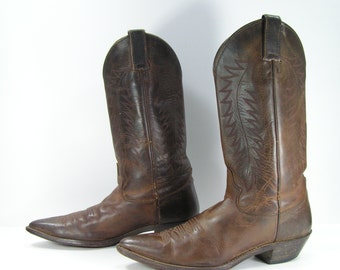 Justin cowboy boots womens 10 M brown leather western cowgirl line dancing two stepping