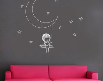 Girl Swing on moon stars Children Room Kids Nursery----Removable Graphic Art wall decals stickers home decor