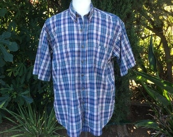 Van Heusen Plaid Short Sleeve Button Up Shirt Khaki Navy Green 80s Vintage Men Large XL