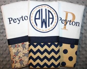 Custom Baby Boys Navy and Tan Sock Monkey Burp Cloth Gift Set- Set of 3 Custom Monogrammed Burp Cloths