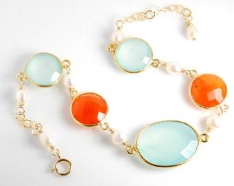 Gemstone bracelet, semi-precious gemstone aqua chalcedony, orange chalcedony, jewelry gift, bracelet