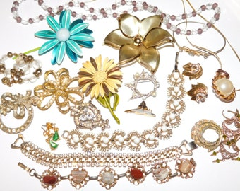 Flower Power Destash JEWELRY LOT For repurpose repair reuse assemblage Rhinestones Flowers Earrings Necklaces and more