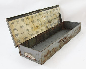 "Distressed Metal Industrial Plumbing Supply Box ""Nice Graphics"""