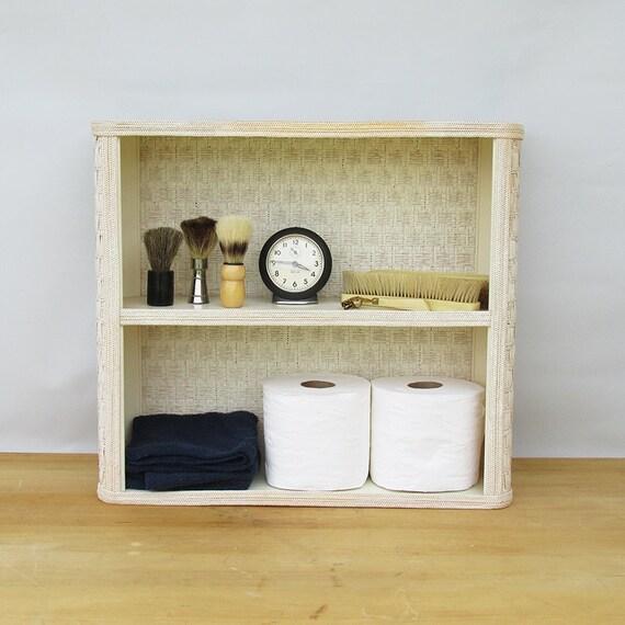 mid century white wicker bathroom shelf