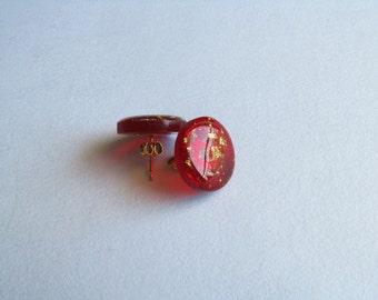 Resin Stud Earrings-Red Stud Earrings-Red Circle Earrings-Stud-Resin Jewellery-Handcrafted Jewellery-Minimalist Earrings