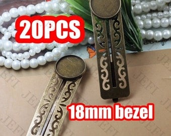 20 Hairpin Base- Brass Antique Bronzed Filigree Floral Hair Pin W/ 18mm Round Bezel Setting Wholesale- Z7414
